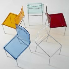Full Transparent plexiglass acrylic dining chair with acrylic seat and back and chrome leg