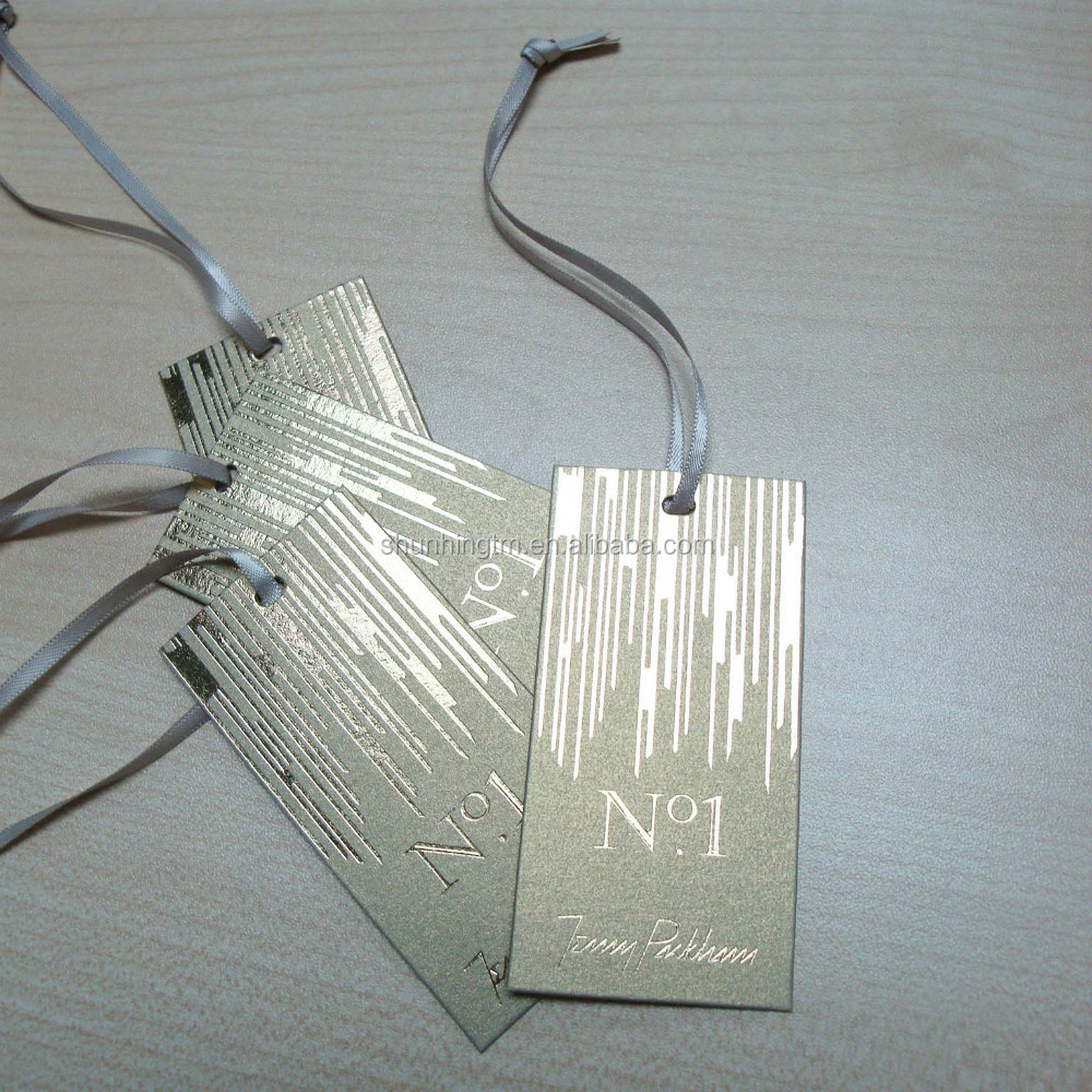 Gold foil both side with gold ribbon hang tag