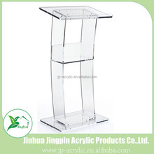 Floor standing curved design acrylic pulpit lectern and podium speaker's stands for church with shelf