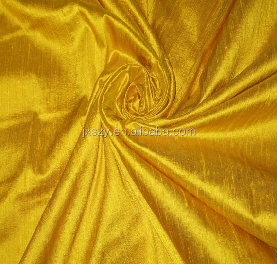 Bright Sun Sunny Yellow 100% dupioni silk fabric
