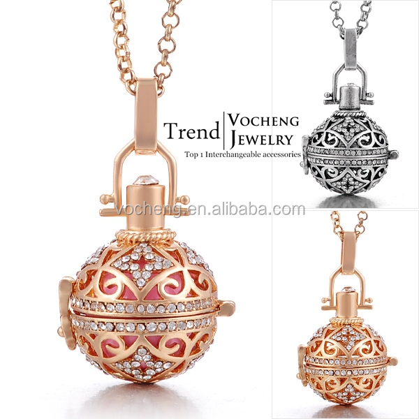 (10pcs/lot)2 colors cooper crystal vocheng bola Ball Jewelry pendant Necklace (VA-092) Free Shipping