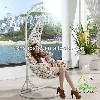 Promotional Cheap All Weather White Rattan Patio Hanging Swing Chairs