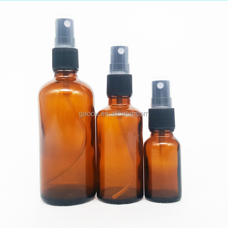 china supplier 10/20/30/50ml 100ml Amber Glass Bottle with 18mm Black Atomiser <strong>Spray</strong>