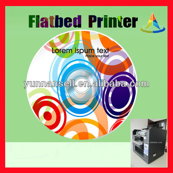 High speed Flatbed inkjet CD printer with the color is vivid