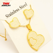 Wholesale Stainless Steel Pearl Butterfly Heart Necklace Pendant Stud Earring Jewelry set 45cm Chain