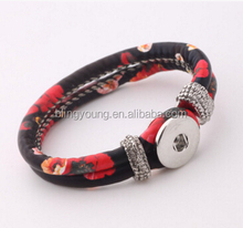 Flower pattern leather wrap button snap bracelet