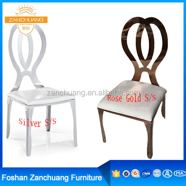 Gold color stainless steel event wedding chair, modern stainless steel dining chair