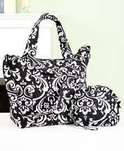 Large Quilted Women Tote Bag Damask Pattern with Cosmetic Bag