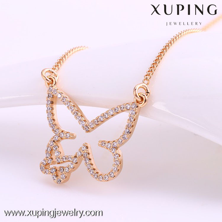 Women Accessories China Unique design hot sale charm 18k gold butterfly pendant necklace