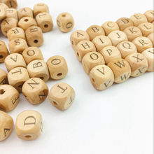 12mm Personalized Name Baby Teething Beads Wooden Beech Cube Alphabet Letter Beads