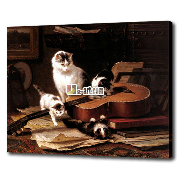 High quality classical cat oil paintings for kids room