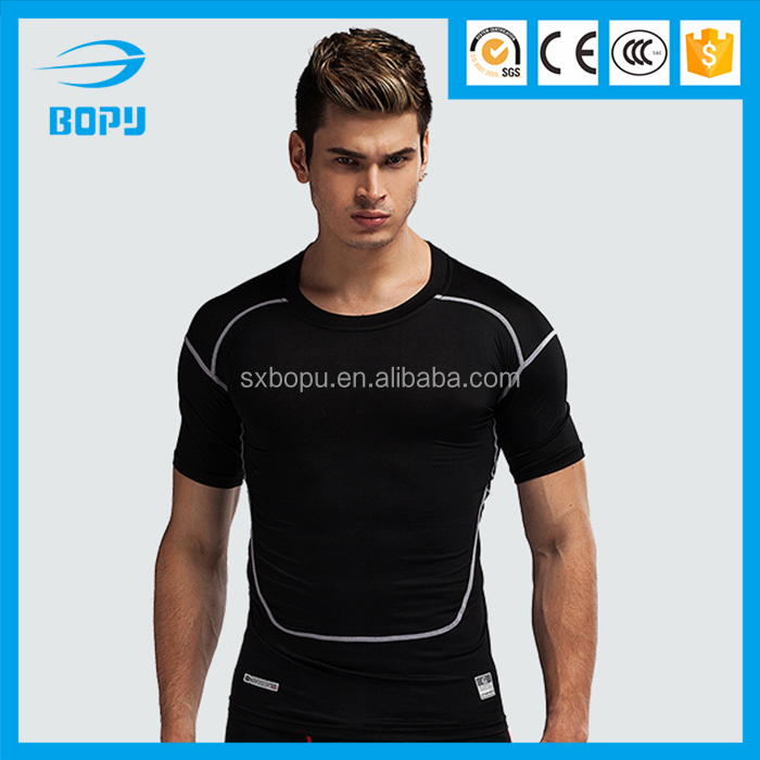 fitness t shirt for mens short sleeve dry fit men polyester fabric compression sportswear