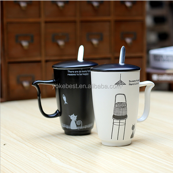 UCHOME Cat Design Ceramic Couple Mugs With Spoon And Lid