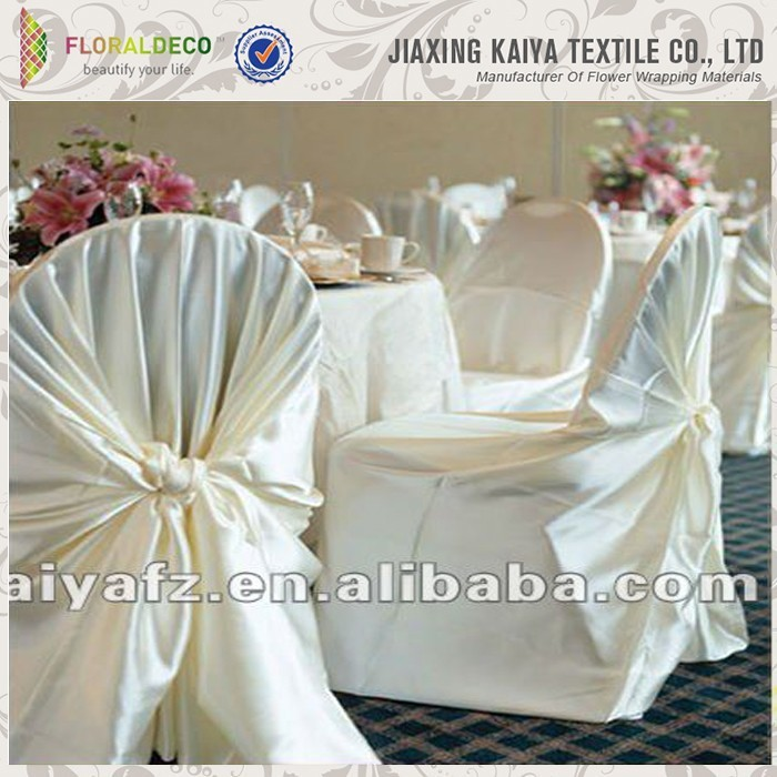 Great material cheap white universal satin chair covers
