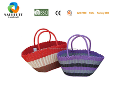 Promotional Handmade Popular PP Pipe Woven Colourful Shopping Tote Bag