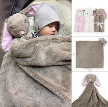 New Arrival Newborn Infant Soft Warm Coral Fleece Plush Animal Toy Baby Swaddle Blanket