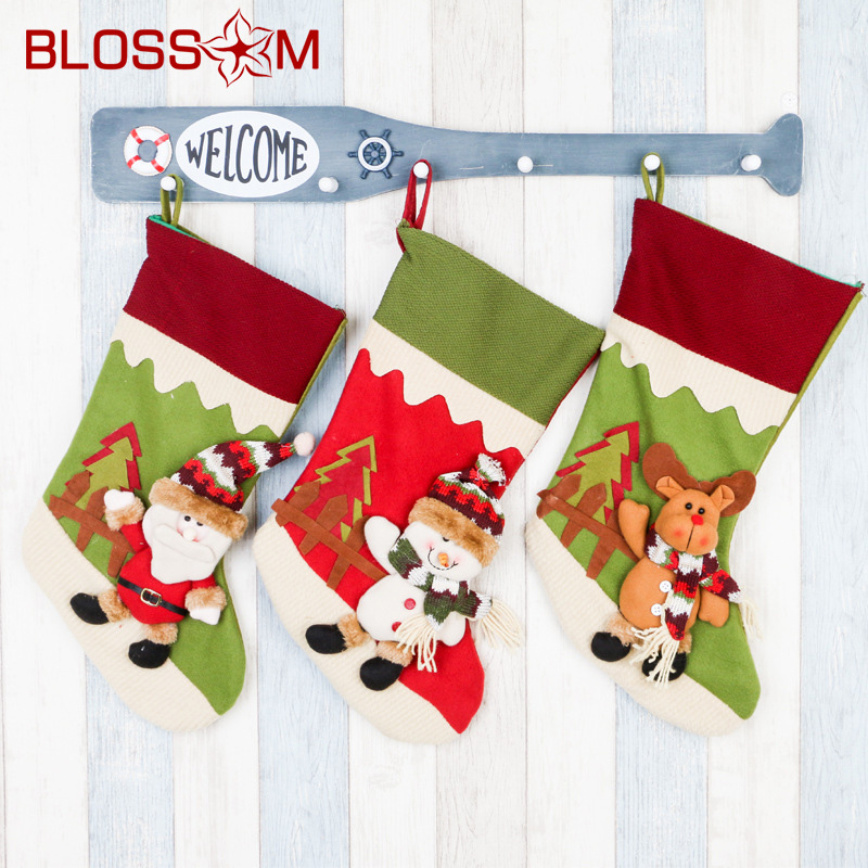 Elk Snowman Santa Claus Decoration <strong>Christmas</strong> Hanging Socks