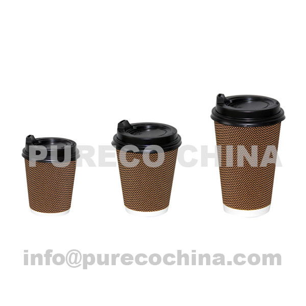 8oz 12oz 16oz triple wall chequered paper coffee cups with plastic sipper lids