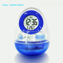 2014 Funny Design Egg Shape Water Powered Thermometer Alarm Water Clock