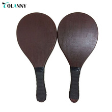 2018 new arrival superior long size wood beach paddle beach tennis racket set