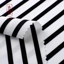 Yarn dyed engineering polyester black white stripe knitted fabric jacquard