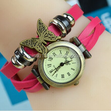 Lady fashion butterfly watch leather strap watch kids watches boys