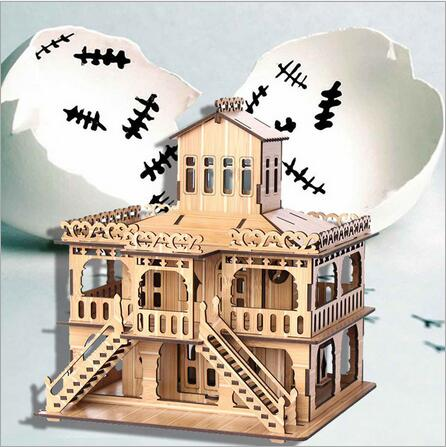 3D Wood Puzzle/ adult DIY Puzzle Kids toys Customize World Famous Building European Villa