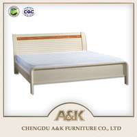Solid rubber furniture wooden ivory white color double bed
