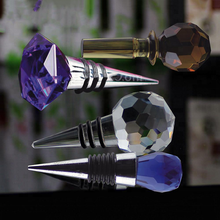 Wholesale custom crystal glass ball metal Wine Stoppers For Wine Bottle Decoration