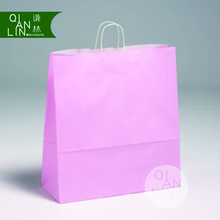 Baby Pink Twist Handle Carriers White Kraft Paper Bags with Reinforced Twisted White Paper Handles