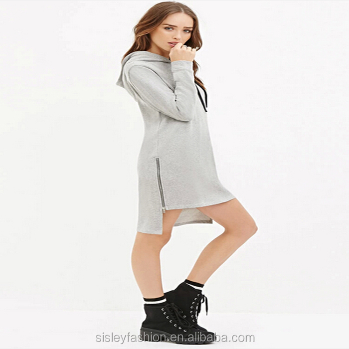 2016 Dress design for ladies long sleeves knee length cotton dress customized desgin with wholesale priceXTY429