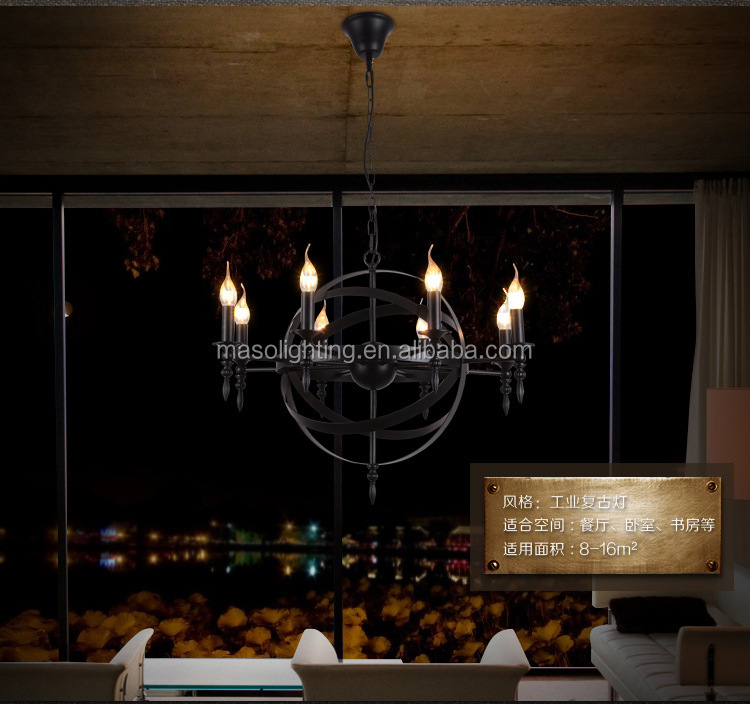 Vintage Industrial pendant lamp theater church resturant home villa interior decorative wrought Iron pendant lamp candle light