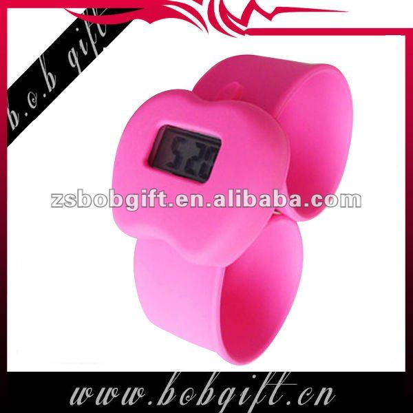 digital cheap apple shape silicone watch with slap band