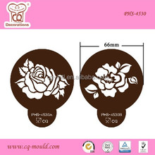 PET Material Rose Template Stencil For Dusting, Icing, Cupcake