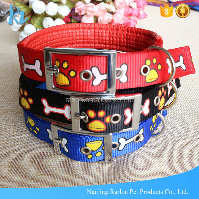 Dog Accessories Nylon Padded Paw Bone Printed Buckle Dog Collar