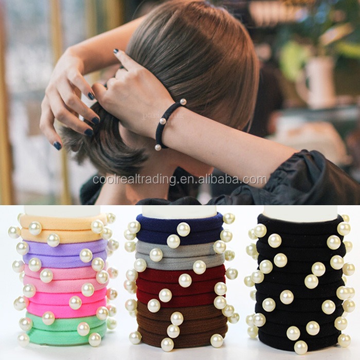 sweet Pearl Bead Ring seamless ring elastic hair rope colorful hair bands with pearl for women ornaments