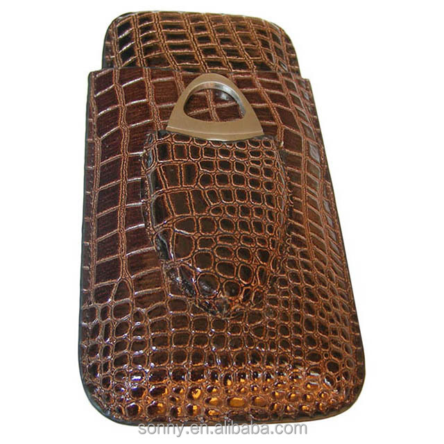 Crocodile Leather Cigar Case and Cigar Accessory