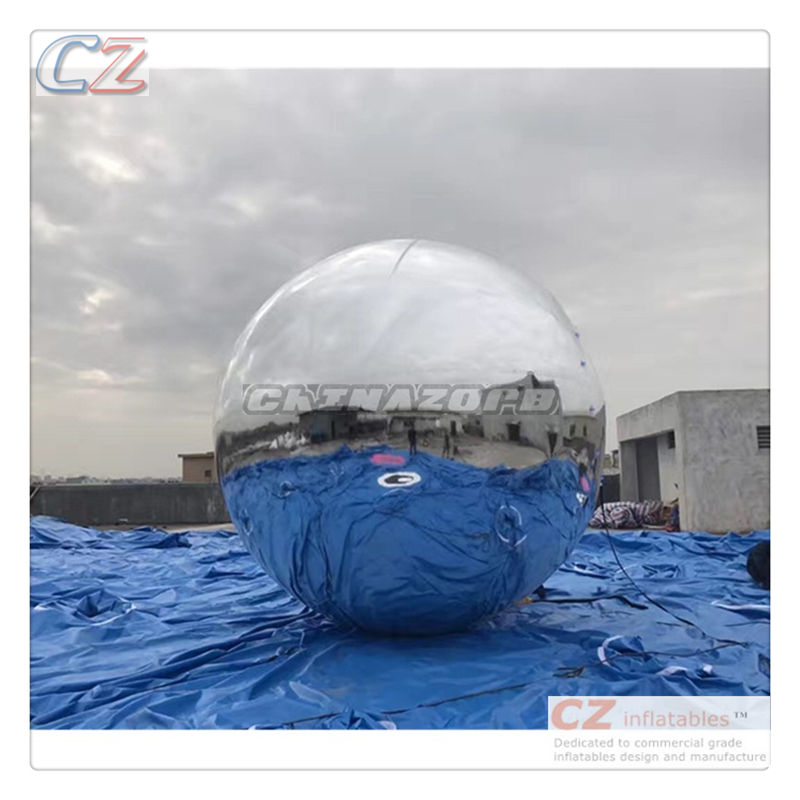 Good event decoration useage perfect reflection silver inflatable mirror ball for sale