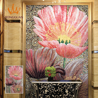 custom design pink flower glass mosaic painting for wall decoration