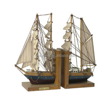 """Gorch Fock"" Wooden bookend,book ends with boat"