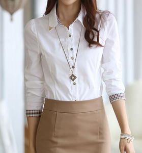 ZY1607A Professional white women's dress shirt with long sleeve