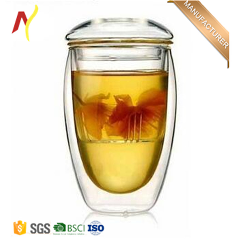 hot sale 350ml glass egg shape teapot filtration cup for milk and coffee