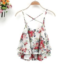 2014 Summer Hot Sale Women Sleeveless Top Flower Floral Print Chiffon design Modern Blouse 2015 SV003758