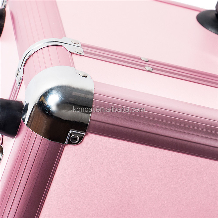Beauty Rolling Aluminum Nail Makeup Case With Wheels And Handle