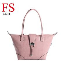 Dongguan manufactruer 2016 fall season new French fashion design pink ladies double shoulder pu handbags