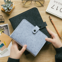 Handmade Vintage Recycle Wool Felt Material Cover Notebook & Diary with Elastic Band Closure ring binder diary