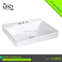 CUPC Square ceramic low price cheap bathroom simple vessel sink ,hand wash basin