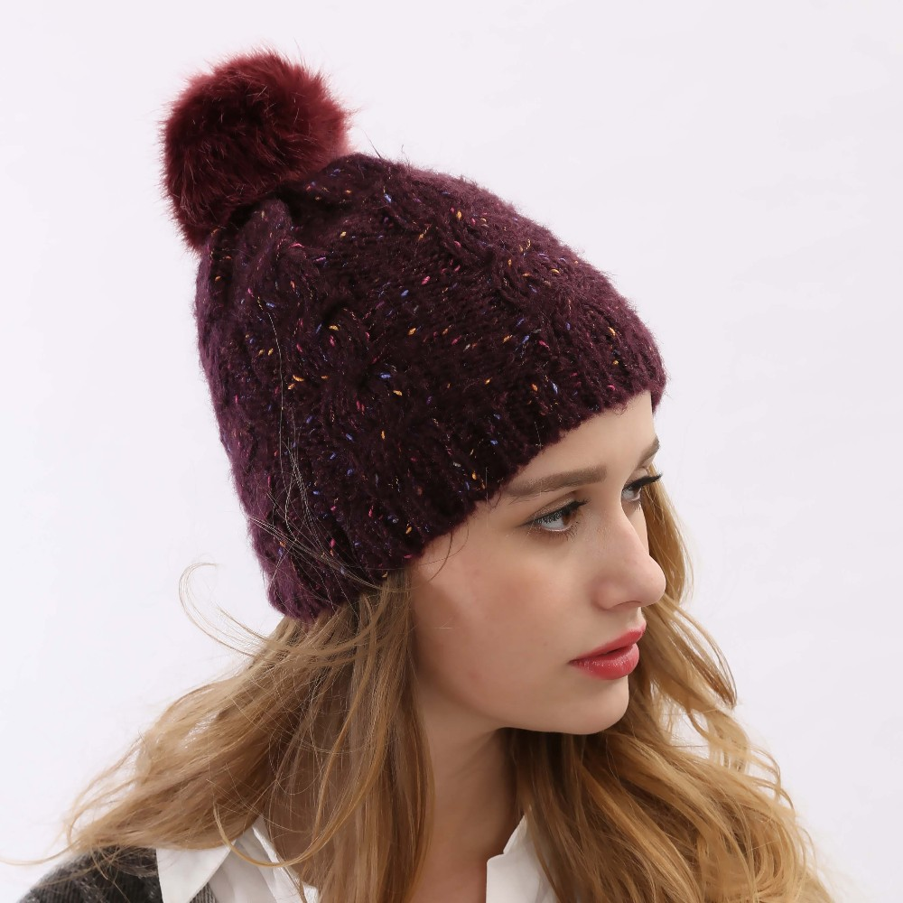 Get Quotations · 2015 Fall Brand Multi-Function Crochet Beanie Top Ball  Thick Warm Rabbit Wine Red Yarn df01361bb732