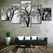5 Pieces Modern Canvas Painting Wall Art Tree Sunrise Time Lake Landscape Print On Canvas Giclee Artwork For Wall Decor