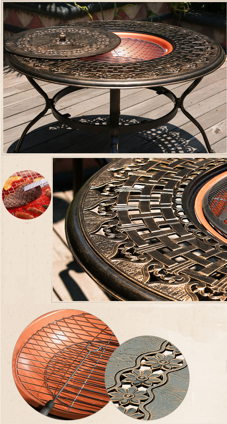 Unique design outdoor garden furniture courtyard creative metal Cast Aluminum Outdoor Round Dinning Table with in Table Grill